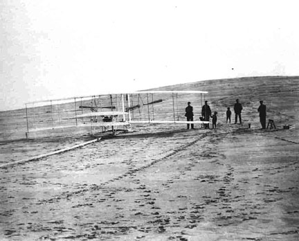 Readying the Wright Flyer for its first flight on December 14, 1903.